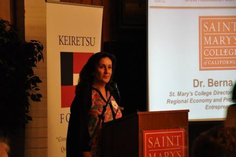 Dr. Berna Aksu, St. Mary's College Director of the Center for the Regional Economy, Welcomes Keiretsu Forum & Guests.