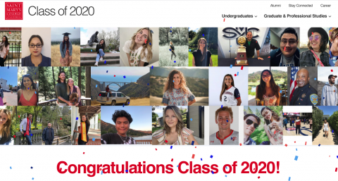 A screenshot of the 2020 Commencement Website