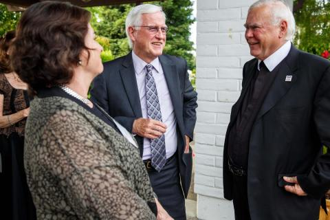 President-designate Jim Donahue and his wife chat with Brother Ron.