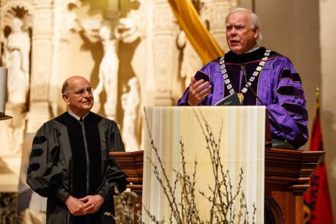 Brother President Ronald Gallagher speaks as Brother Alvaro watches.