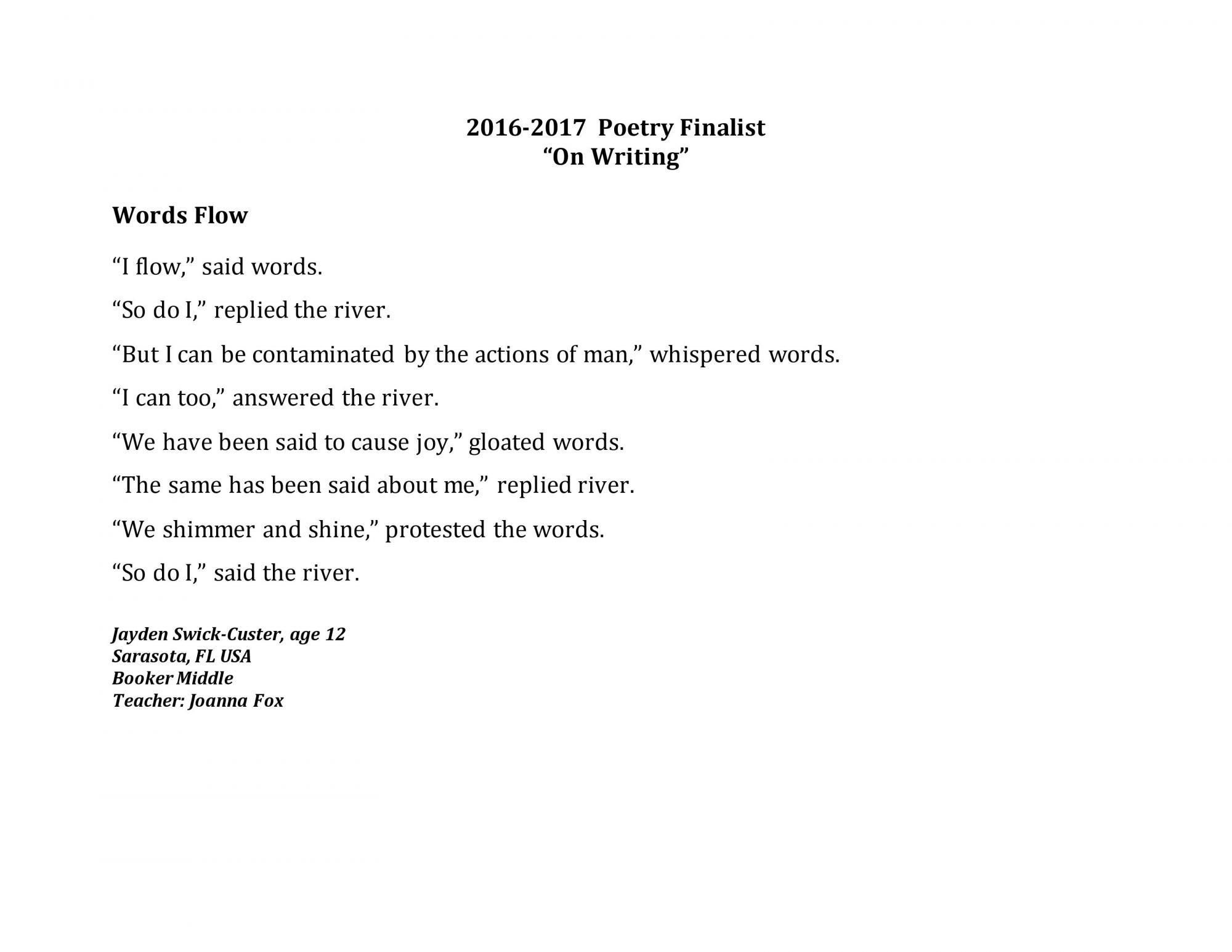 """River of Words 2016-17 """"On Writing"""" Category"""