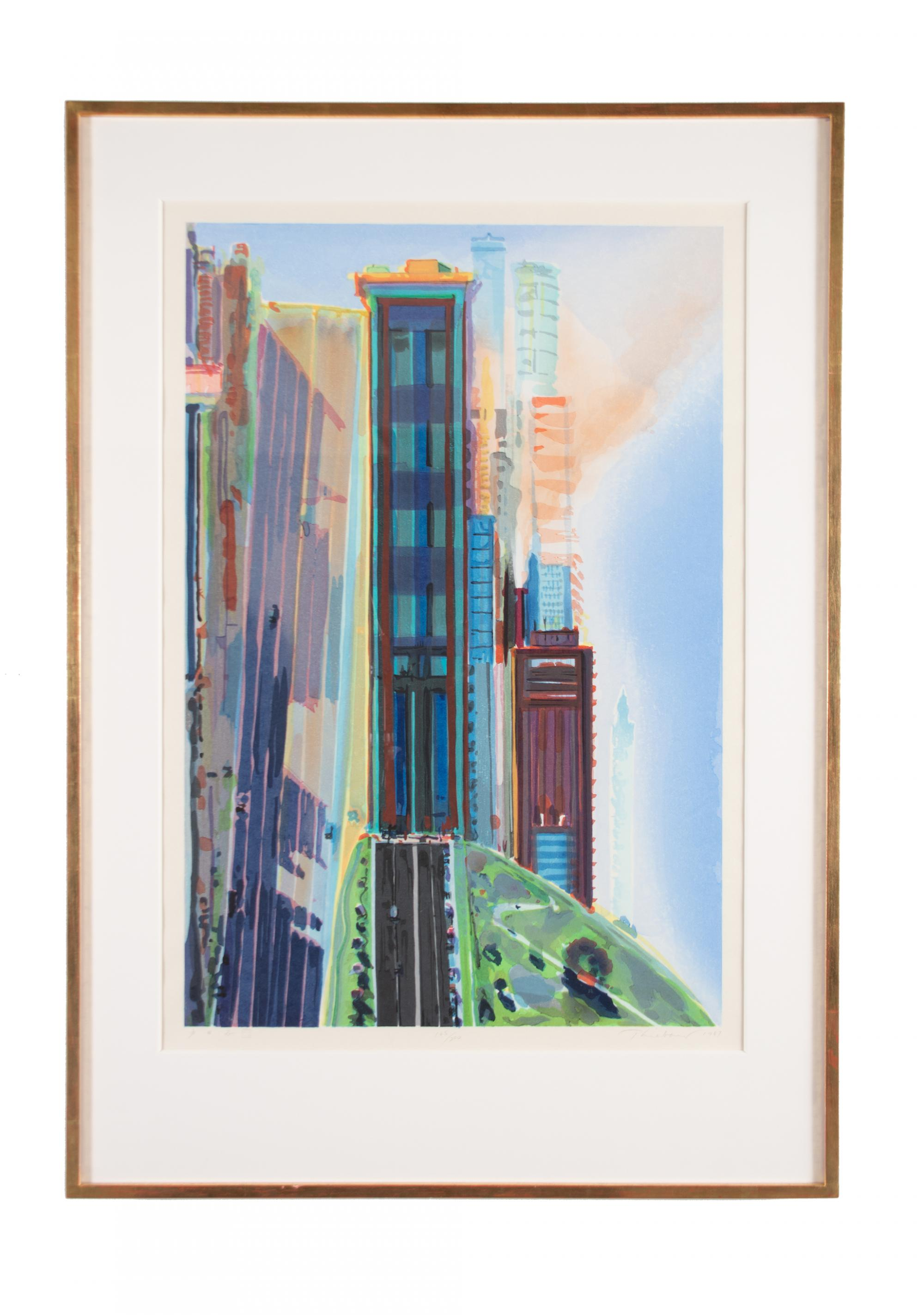 Wayne Thiebaud (b. 1920) United States, Hill Street, Color woodcut, 1987, Gift of Crown Point Press [90.7]