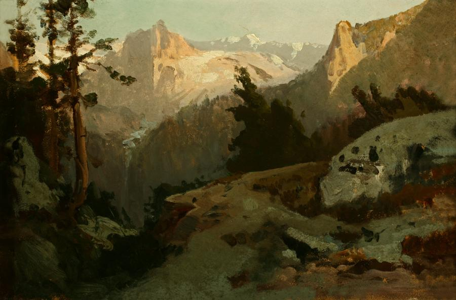 William Keith, High Sierra, Yosemite, 1880-1889, Oil on canvas mounted on cardboard, 10 x 15 inches, Collection of Saint Mary's College Museum of Art,  Gift of Mary McHenry Keith, 1934, 0-101