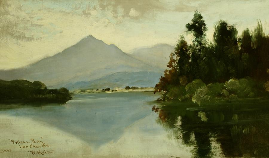 William Keith, Pelican Bay, 1908, Oil on canvas, 11 ⅜ x 20 inches, Collection of Saint Mary's College Museum of Art,  Gift of the Estate of Margaret O'Callaghan, 1950, 0-103