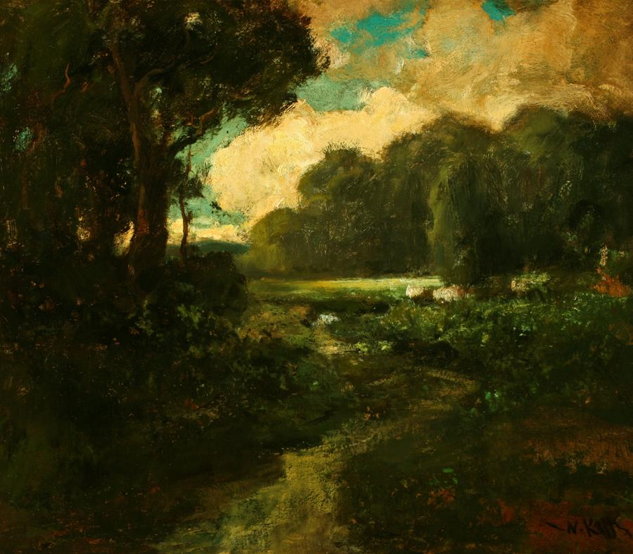 William Keith, Golden Sunset Cloud, circa 1890-1911, Oil on canvas, 25 x 38 ¾ inches, Collection of Saint Mary's College Museum of Art, 0-115
