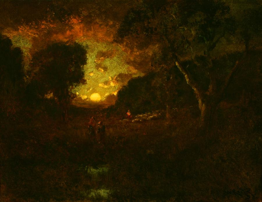 William Keith, Glowing Sunset Behind Grand Dark Trees, 1900-1911, Oil on canvas, 20 x 26 inches, Collection of Saint Mary's College Museum of Art,  College purchase, 0-121