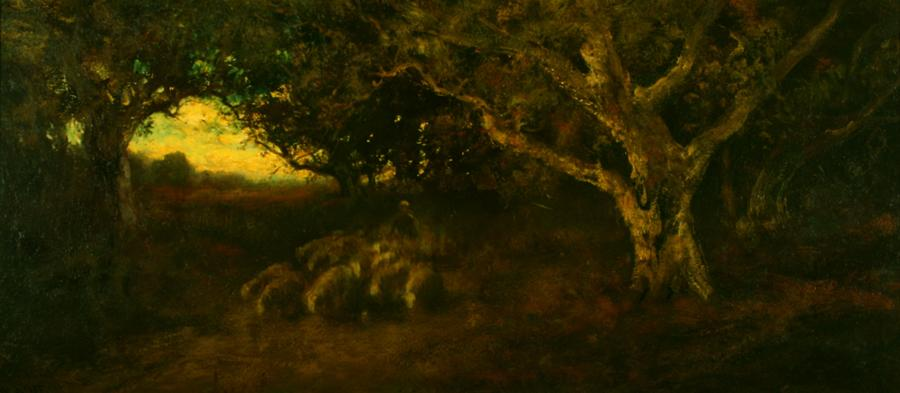 William Keith, Oak Grove and Sheep, 1900-1911, Oil on canvas, 20 x 44 inches, Collection of Saint Mary's College Museum of Art,  0-126