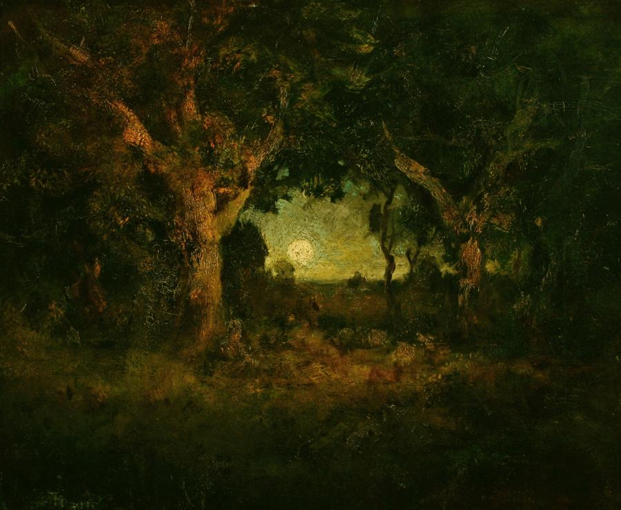 William Keith, Moonrise Among the Oaks, 1906, Oil on canvas, 24 x 29 inches, Collection of Saint Mary's College Museum of Art,  Gift of Herman Phleger, 1950, 0-131