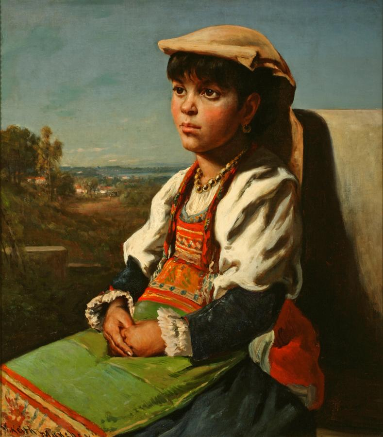 William Keith, Girl in Bavarian Costume, circa 1884, Oil on canvas, 32 x 28 inches, Collection of Saint Mary's College Museum of Art,  Gift of Charles H. King and Marguerite West, 0-132