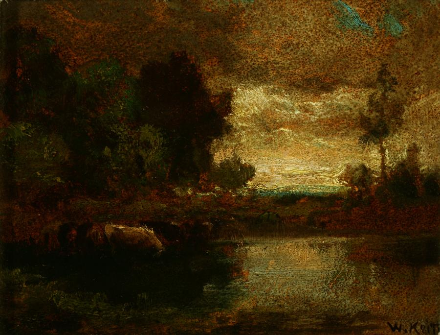 William Keith, Mood, circa 1890-1911, Oil on paperboard, 7 x 9 inches, Collection of Saint Mary's College Museum of Art,  0-140