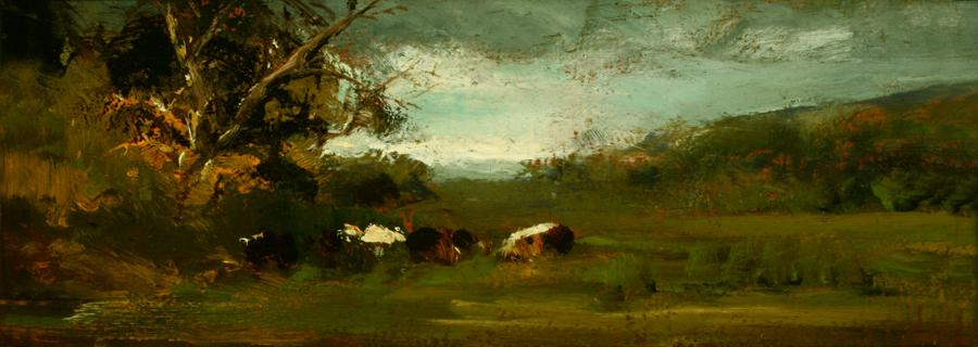 William Keith, Cattle at Edge of Meadow, circa 1890s, Oil on cigar box panel, 3 ½ x 9 ½ inches, Collection of Saint Mary's College Museum of Art,  Gift of Mrs. Mary McHenry Keith, 1934, 0-144