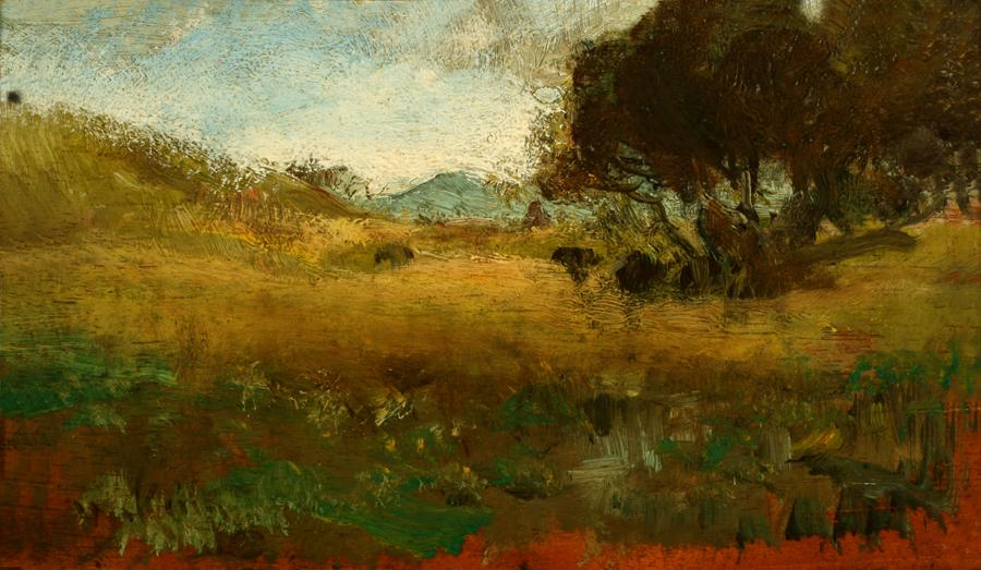 William Keith, Brown Hillside, Cloudy Sky, circa 1890s, Oil on wood cigar box panel, 6 ½ x 10 inches, Collection of Saint Mary's College Museum of Art,  Gift of Mr. and Mrs. Jack Burk, 1950, 0-145