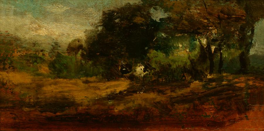 William Keith, Landscape, circa 1890-1899, Oil on cigar box panel, 4 x 8 inches, Collection of Saint Mary's College Museum of Art,  Gift of R.L. Sanders, 1945, 0-146