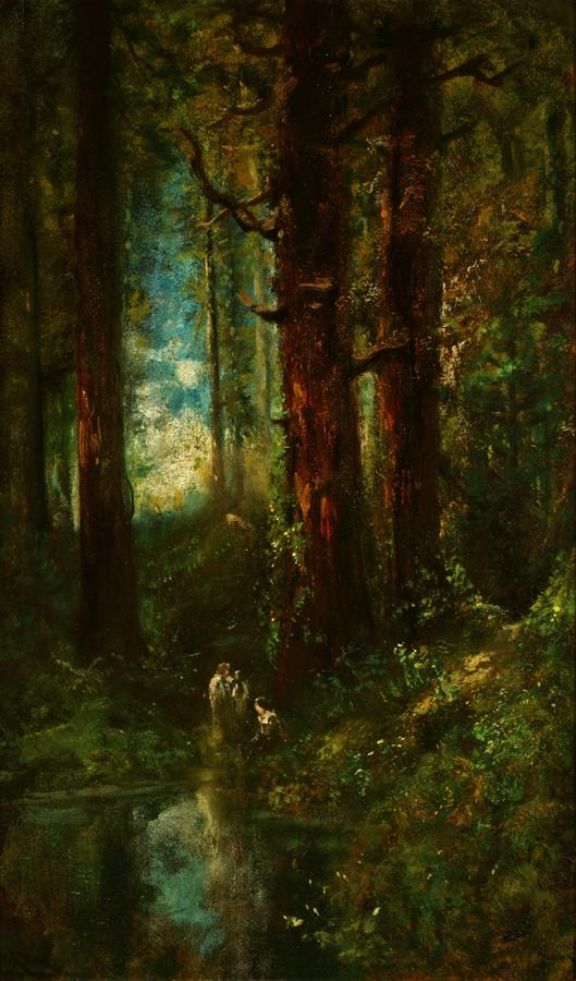 William Keith, Joy Comes with Morning, circa 1900-1911, Oil on wood, 30 x 18 inches, Collection of Saint Mary's College Museum of Art,  College purchase with assistance from Wallace Grant,  0-148