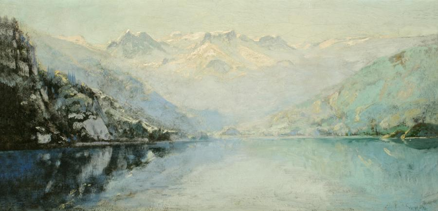 William Keith, Alaska: Inland Passage, 1886, Oil on canvas mounted on board, 14 x 28 inches, Collection of Saint Mary's College Museum of Art,  Gift of Mr. and Mrs. William J. Brady, 1953, 0-157