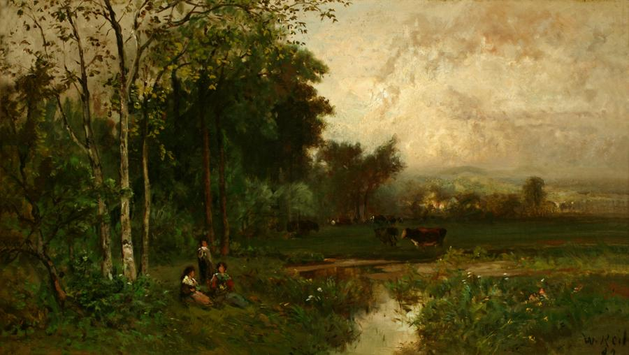 William Keith, Quiet Day, Three Ladies Reposing on Grass, 1882, Oil on canvas, 13 x 22 inches, Collection of Saint Mary's College Museum of Art,  Gift of Mr. Cochrane Browne, Jr., 0-158