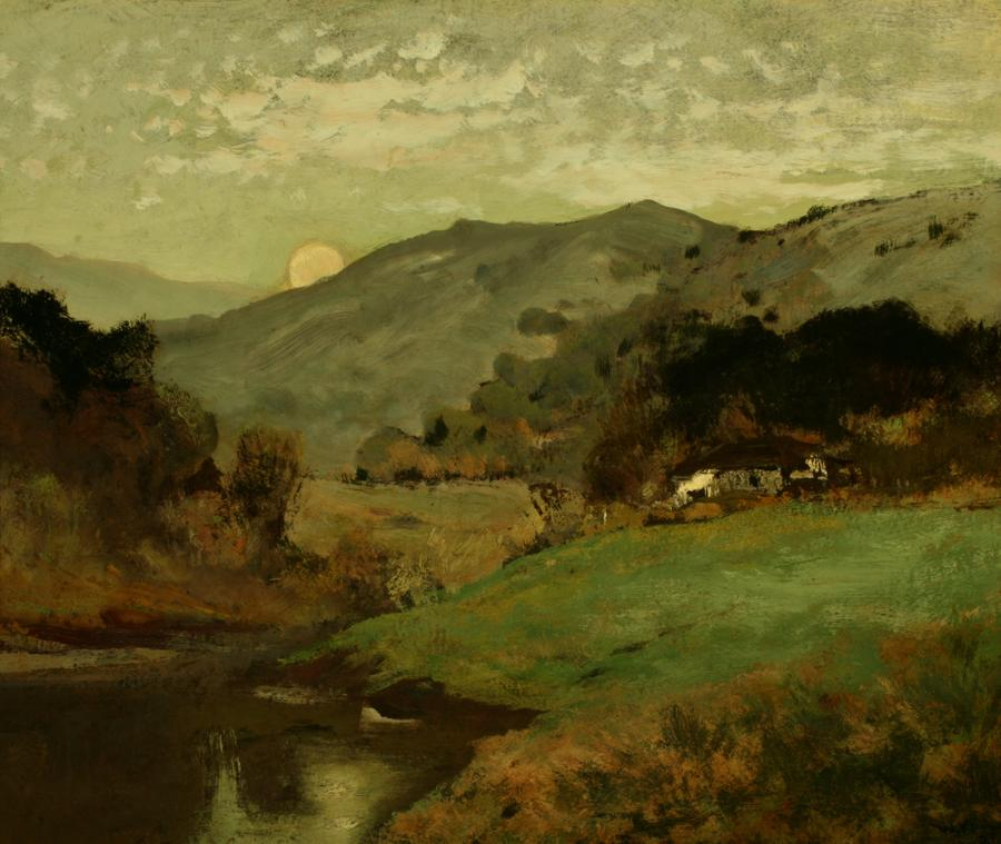 William Keith, Moonlight Near San Rafael, 1903, Oil on paperboard lined onto canvas, 23 x 27 ¾ inches, Collection of Saint Mary's College Museum of Art,  Gift of  F.C. Dougherty, 1955, 0-165
