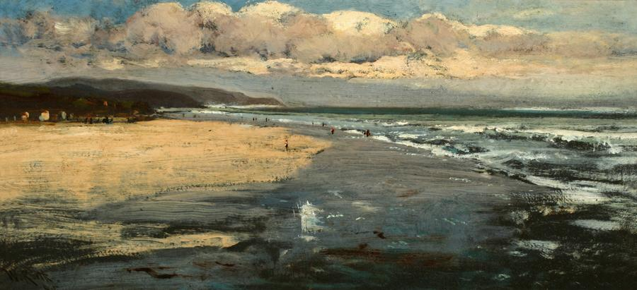 William Keith, Stinson Beach, 1870s or early 1880s, Oil on cardboard mounted on wood, 9 x 19 inches, Collection of Saint Mary's College Museum of Art,  Gift of Cochrane Browne, Jr., 0-166