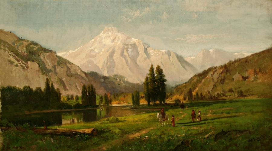 William Keith, Glacial Meadow and Lake, High Sierra (Tuolumne Meadows), 1870s or early 1880s, Oil on canvas, 14 x 26 inches, Collection of Saint Mary's College Museum of Art,  Gift of Dr. William S. Porter, 0-19