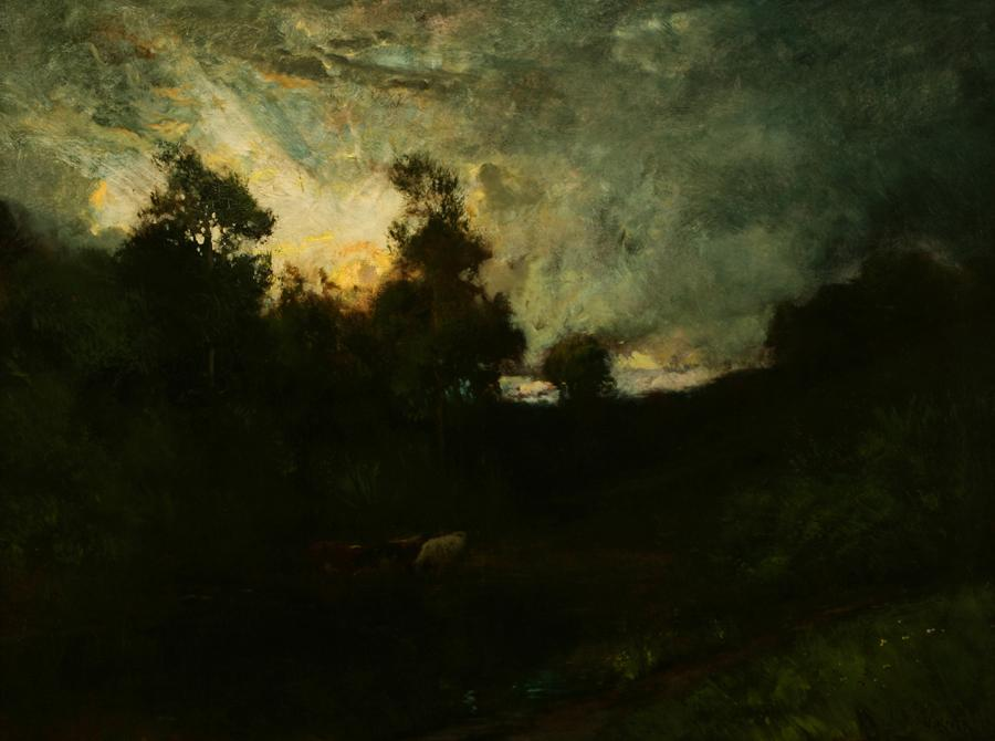 William Keith, Burst of Light in Sky, 1890-1899, Oil on canvas, 30 x 40 inches, Collection of Saint Mary's College Museum of Art,  Gift of Josephine Grant McCreery in memory of her mother and father, Mr. and Mrs. Joseph Grant, 1952, 0-201