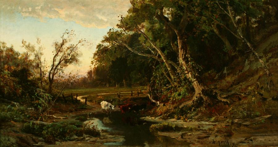 William Keith, Woods and Meadow, Three Cows Wading, 1874, Oil on canvas, 12 x 23 inches, Collection of Saint Mary's College Museum of Art,  Gift of Mrs. F.S. Low, 0-203