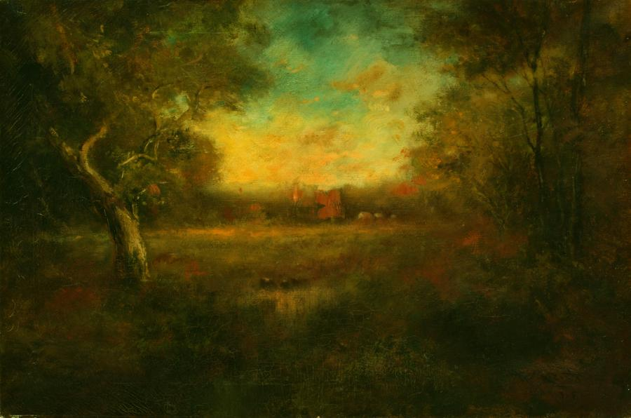 Attributed to William Keith, Sultry Summer Sunset, circa 1890s, Oil on canvas, 20 x 30 inches, Collection of Saint Mary's College Museum of Art,  Gift of John C. Day, 1960, 0-205
