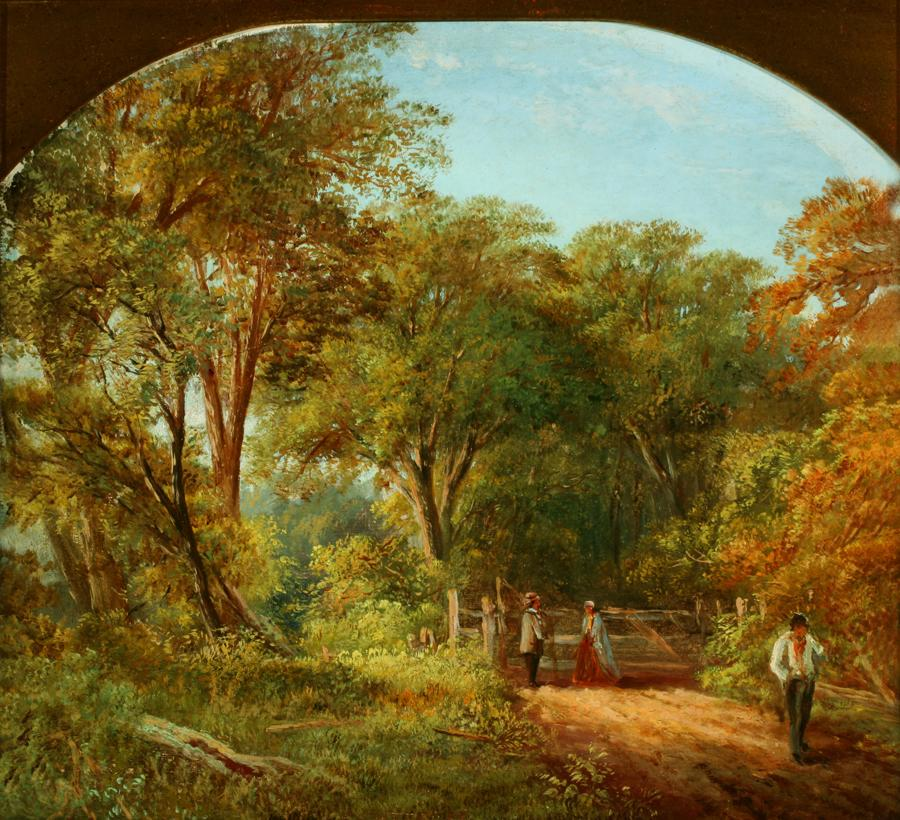 William Keith, Pulgas Ranch Gate, circa 1869, Oil on canvas, 11 ¾ x 13 inches, Collection of Saint Mary's College Museum of Art, Gift of Mrs. Una Herring, 1945, 0-206