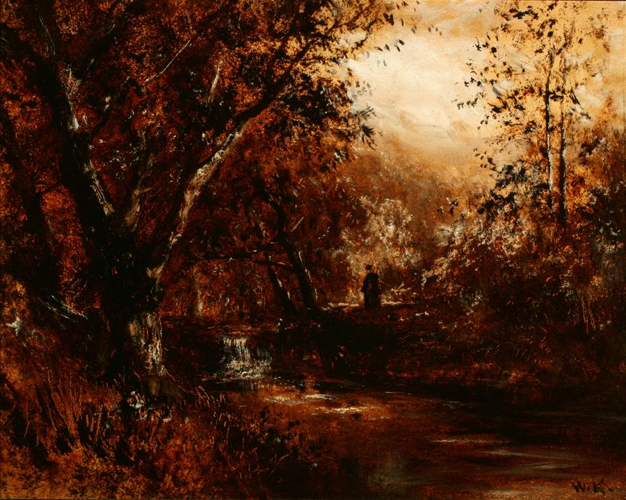 William Keith, Forest Scene, circa 1895, Oil on composition board, 16 ¼ x 20 ¾ inches, Collection of Saint Mary's College Museum of Art, 0-22