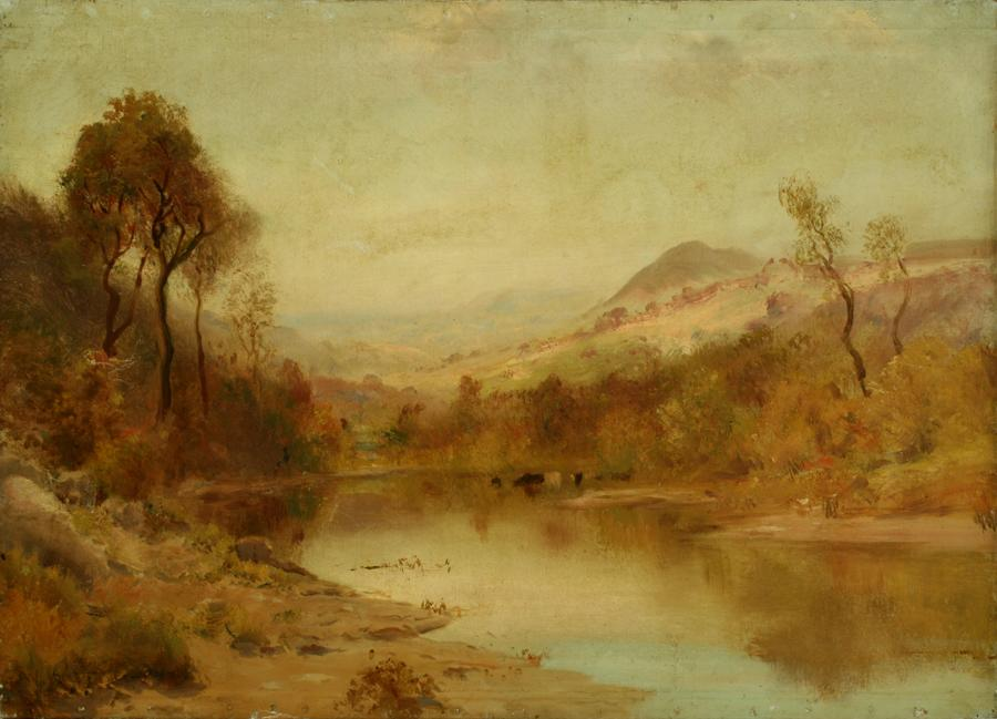 William Keith, Lagunitas in Spring, 1890-1899, Oil on canvas, 21 ¾ x 30 inches, Collection of Saint Mary's College Museum of Art,  Gift of F.C. Dougherty, 1955, 0-225