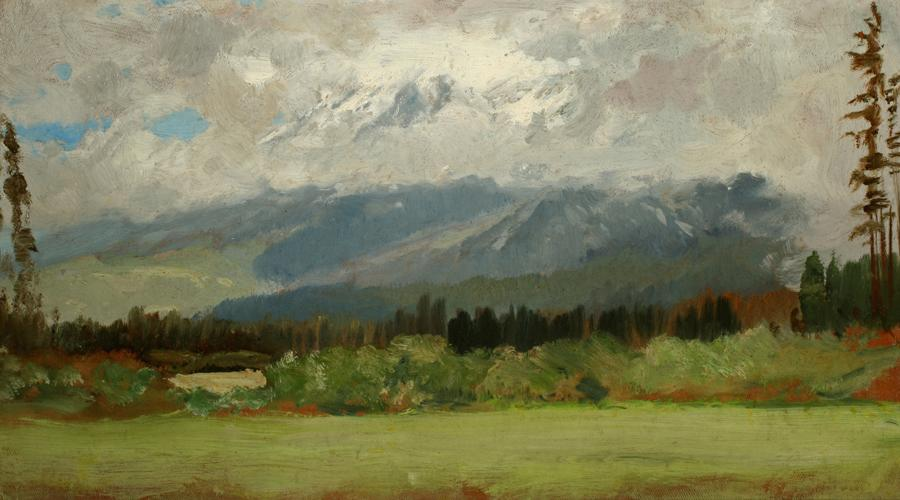Mount Shasta Sketch, circa 1890-1911, Oil on canvas, 9 ⅝ x 17 ¼ inches, Collection of Saint Mary's College Museum of Art, Gift of Mary McHenry Keith, 0-23