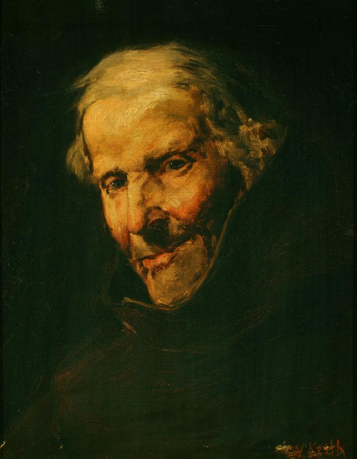 William Keith, Genial Old Monk, circa 1884, Oil on canvas, glued to plywood (after restoration), 17 x 14 inches, Collection of Saint Mary's College Museum of Art,  College purchase, 0-255