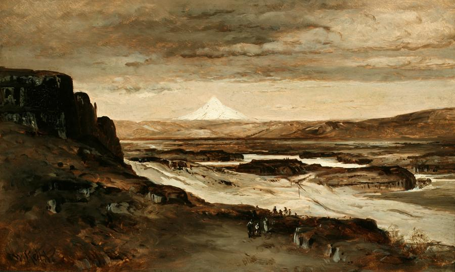 William Keith, Mount Hood All In Snow, late 1880s or 1890s, Oil on paper mounted to mat board, 10 ¾ x 18 inches, Collection of Saint Mary's College Museum of Art,  Gift of Cochrane Browne, Jr., 0-256