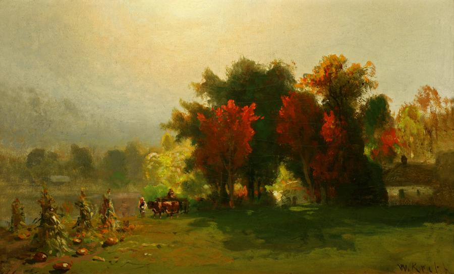 William Keith, Autumn-Colored Trees, New Hampshire, circa 1880, Oil on canvas mounted on composition board, 10 x 16 inches, Collection of Saint Mary's College Museum of Art,  Gift of Mary B. Alexander in memory of her husband, Wallace Alexander, 0-261