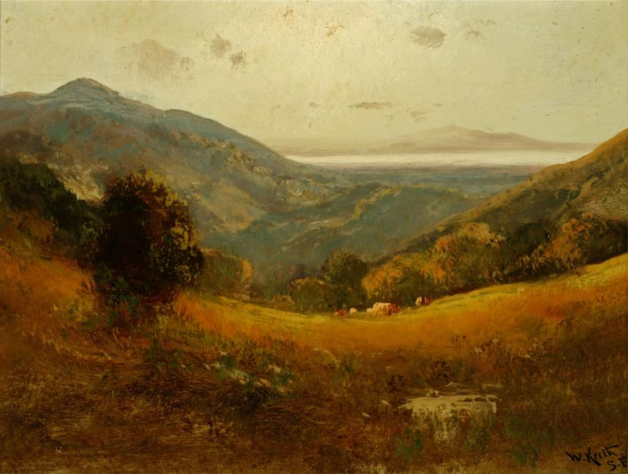 William Keith, San Francisco Bay from Brown Berkeley Hills, 1906-1911, Oil on canvas, 15 x 20 ⅛ inches, Collection of Saint Mary's College Museum of Art,  Gift of William E. Colby, 0-263