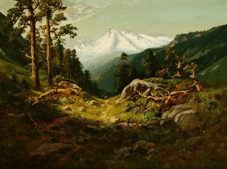 William Keith, Shasta All In Snow, circa late 1890s, Oil on canvas, 30 x 40 inches, Collection of Saint Mary's College Museum of Art,  0-268