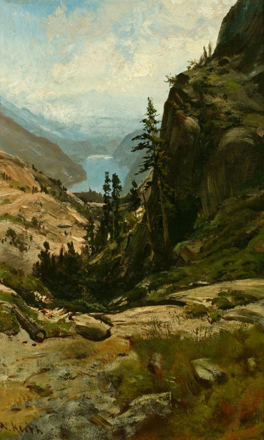 William Keith, Donner Lake, circa 1878, Oil on canvas, 24 x 15 inches, Collection of Saint Mary's College Museum of Art,  Gift of Agnes M. Egan, 1954, 0-276