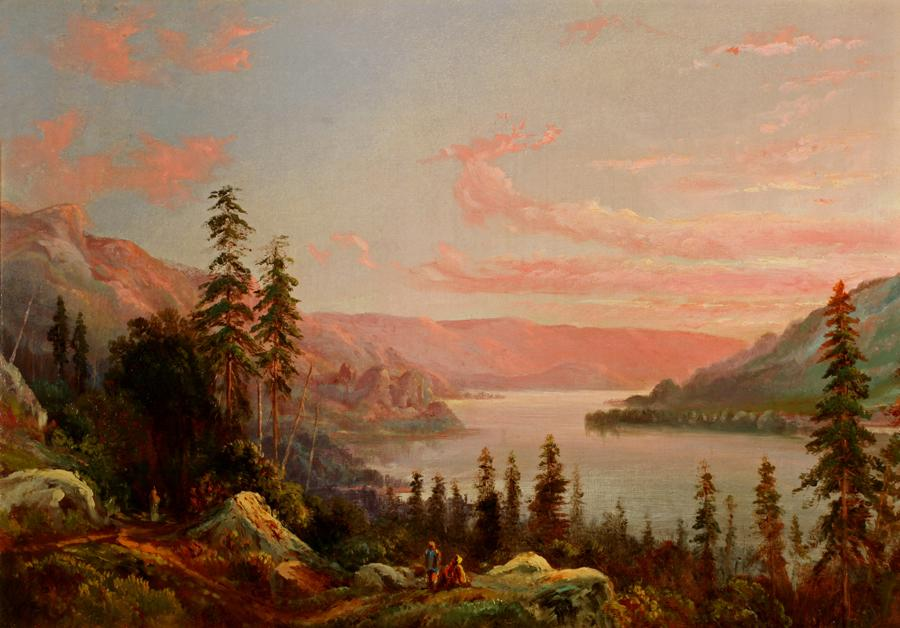 William Keith, On the Columbia River, circa 1869, Oil on canvas, 14 x 20 inches, Collection of Saint Mary's College Museum of Art,  College purchase, 1949, 0-286