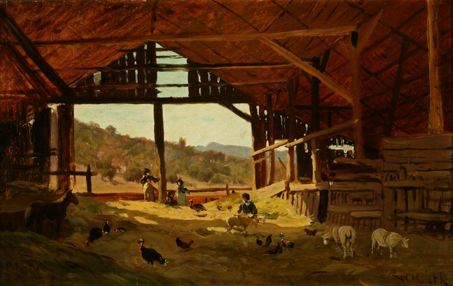 William Keith, Barn Interior, circa 1880s, Oil on paper mounted on tempered masonite panel, 13 x 20 inches, Collection of Saint Mary's College Museum of Art,  Gift of Mary B. Alexander in memory of her husband, Wallace Alexander, 0-297