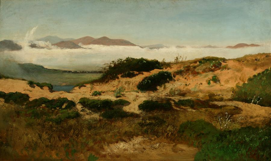 William Keith, Sand Dunes and Fog, San Francisco, circa 1880s, Oil on canvas mounted on board, 14 x 24 inches, Collection of Saint Mary's College Museum of Art, Gift of Mary B. Alexander in memory of her husband, Wallace Alexander, 0-298