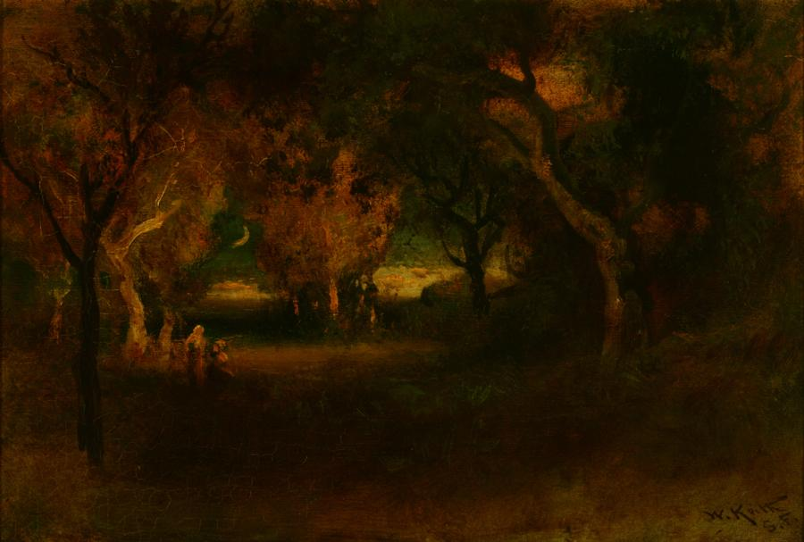 William Keith, The Sickle Moon, circa 1906-1911, Oil on canvas, 16 x 24 inches, Collection of Saint Mary's College Museum of Art,  Gift of Dr. and Mrs. George Lyman, 1949, 0-30