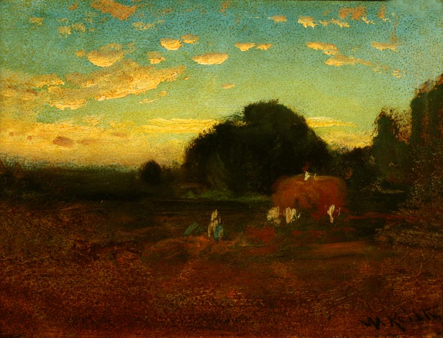 William Keith, Evening: Harvest Scene, circa 1890-1899, Oil on composition board, 7 x 9 ¼ inches, Collection of Saint Mary's College Museum of Art,  Gift of Mrs. Robert McWilliams, 1955, 0-309