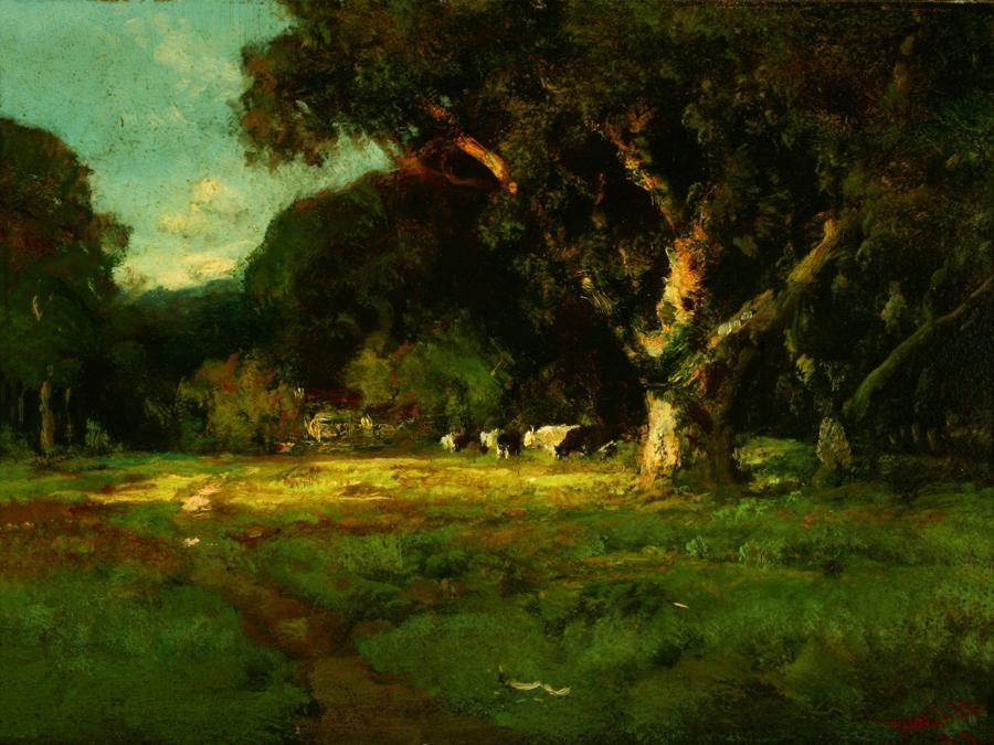 William Keith, Sunlit Oaks and Meadow, 1898, Oil on composition board, 12 ¼ x 16 inches, Collection of Saint Mary's College Museum of Art,  Gift of Mrs. Allan Green, 0-311
