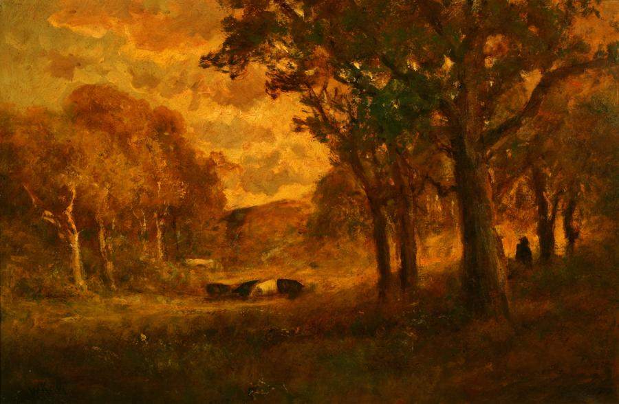 Attributed to William Keith, Golden Evening, circa 1906-1911, Oil on canvas, 20 x 30 inches, Collection of Saint Mary's College Museum of Art,  College purchase, 1942, 0-34
