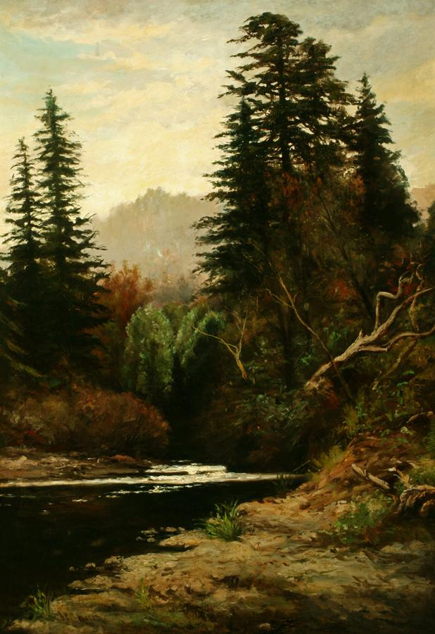 William Keith, In the Santa Cruz Mountains, late 1880s or early 1890s, Oil on canvas, 37 ¼ x 26 inches, Collection of Saint Mary's College Museum of Art,  Gift of Helen M. Cairns, 0-4