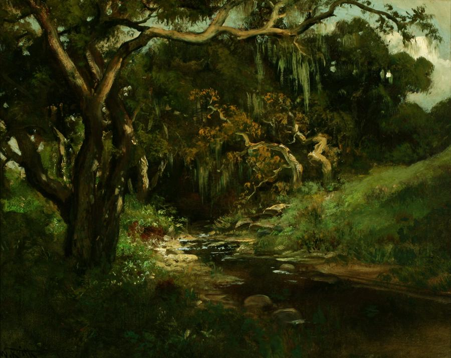 William Keith, Strawberry Creek, circa 1890-1911, Oil on canvas, 20 x 24 inches, Collection of Saint Mary's College Museum of Art,  Gift of F.C. Dougherty, 0-42