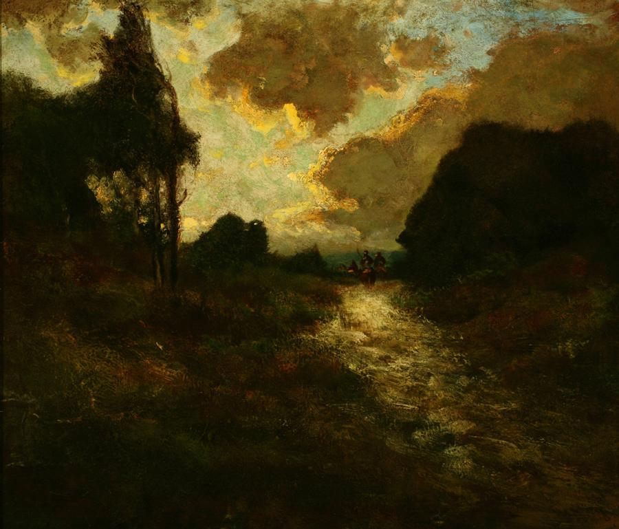 Attributed to William Keith, Weird Evening Clouds: Portola Landscape, circa 1900-1911,	 Oil on canvas mounted to masonite, 23 ¼ x 27 inches, Collection of Saint Mary's College Museum of Art,  Gift of William E. Colby, 0-45