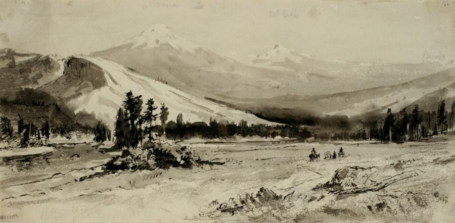 William Keith, The Sweep of Tuolumne Meadows with Lembert Dome and Mounts Dana and Gibbs, circa 1876-1878, Ink and wash, 6 x 12 ¼ inches, Collection of Saint Mary's College Museum of Art,  0-477