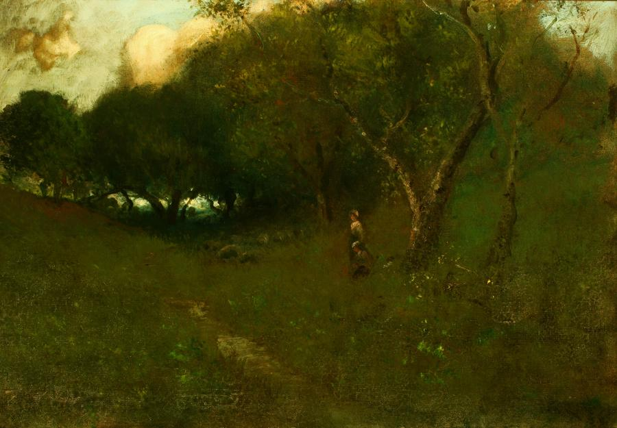 William Keith, Title unknown (two figures and sheep in wooded scene), circa 1890-1899, Oil on canvas, 26 x 18 inches, Collection of Saint Mary's College Museum of Art,  0-53