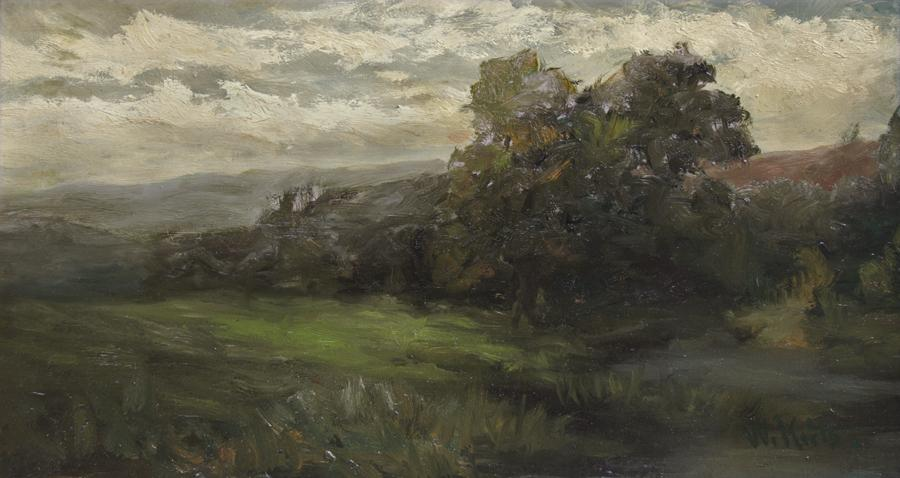 William Keith, Landscape with Rolling Hills and Grey Sky, 1886-1896, Oil on board, 13 x 23 ⅝ inches, Collection of Saint Mary's College Museum of Art,  Gift of Mr. Cochrane Browne, Jr., 0-61