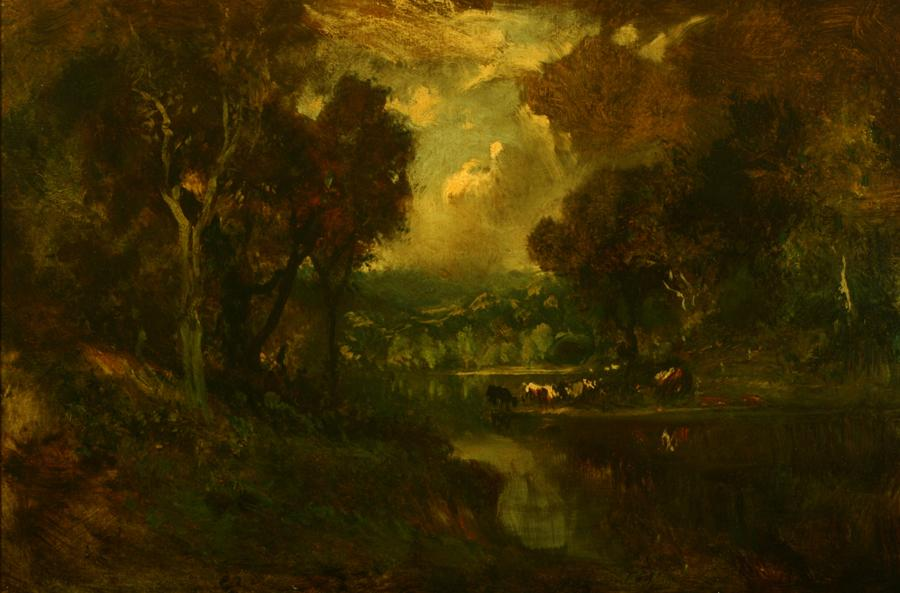 William Keith, The River (of Life), circa 1906-1911, Oil on canvas, 20 ½ x 30 inches, Collection of Saint Mary's College Museum of Art,  College purchase, 0-64